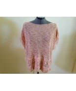 White House Black Market NEW Peach Open Knit Double Fringed Sweater M NW... - $28.94
