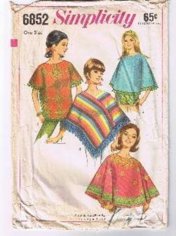SIMPLICITY 6852 - Misses' Set of Ponchos - One Size   Simplicity