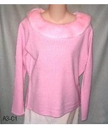 Carolyn Taylor Sz M Pink Sweater with Fur Trim NWT - $14.99