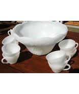 Vintage Milk Glass Punch Bowl Set - $85.00