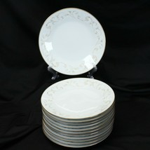 """Noritake Duetto Gold Trim Salad Luncheon Plates 8.125"""" Lot of 12 Japan - $68.59"""