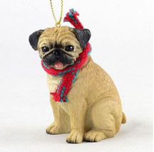 "LARGE 3"" PUG FAWN DOG CHRISTMAS ORNAMENT HOLIDAY Figurine Scarf  gift tan - $14.99"
