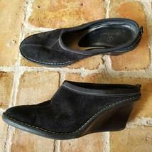 Cole Haan Women's 8 1/2 Black Suede Leather Comfort Wedge Clog Heel D20174  - $27.67