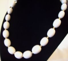 MONET White OVAL Beads Necklace CHOKER Gold Plated Spacers Vintage Estate Career image 3
