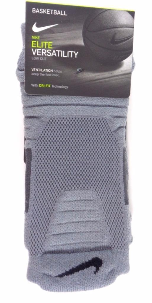 Nike Mens Elite Versatility Low Cut Gray Basketball Socks Size M XL SX5424-065
