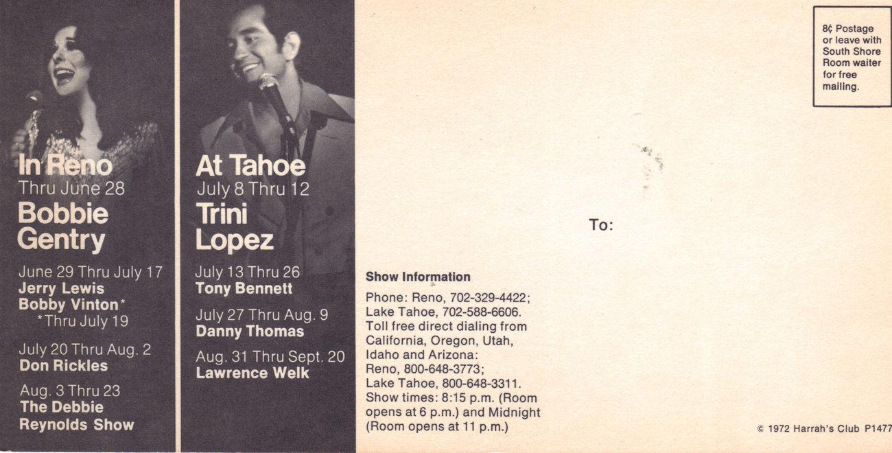 SAMMY DAVIS JR / BOBBIE GENRY / TRINI LOPEZ HARRAHS Postcard