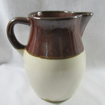 "Pitcher Roseville Jug Brown White Stoneware Authentic 6 1/2"" 32 Oz. USA ... - $22.68"