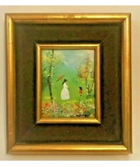 """WOMAN WITH UMBRELLA AND CHILD ENAMEL ON COPPER PAINTING BY LOUIS CARDIN 5"""" - $99.95"""