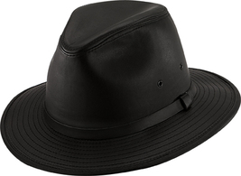 Henschel Garment Leather Safari Fedora Satin Lined Made In USA Black Brown - $80.00