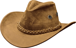 Henschel Split Leather Cowboy Hat Rugged Crushable Hiker Made In USA Tan   - $76.00