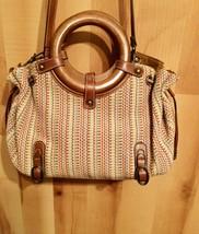 "Vintage Fossil Women's Woven Handbag Multi Color Wooden Handles 9""x 15.5""x 7.5"" - $22.09"