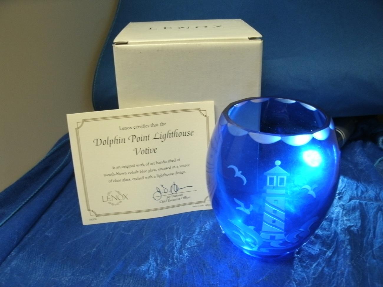 Cobalt Blue Glass Dolphin Point Lighthouse Votive by LENOX - Mint in Original Bo image 2