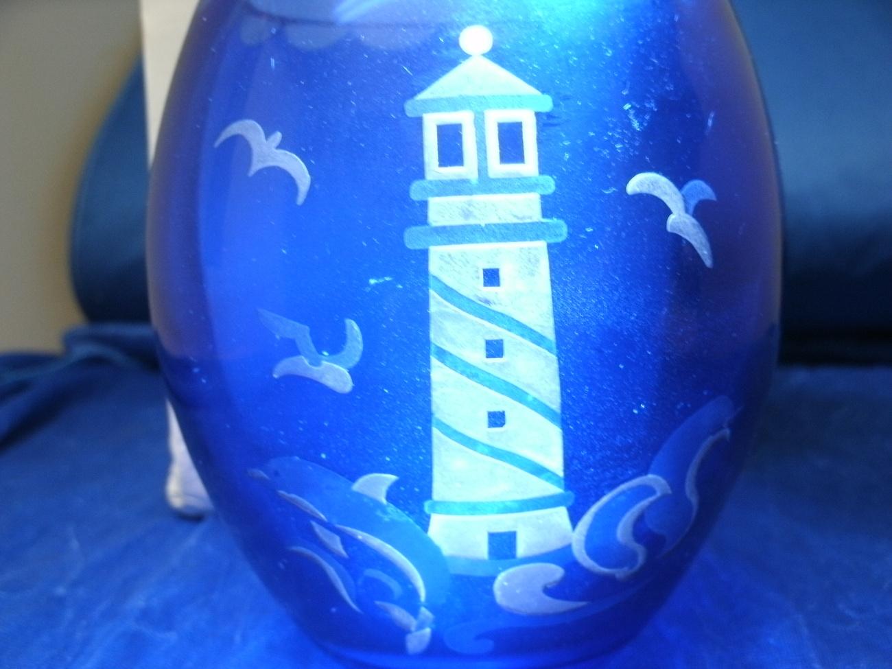 Cobalt Blue Glass Dolphin Point Lighthouse Votive by LENOX - Mint in Original Bo image 4