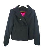 Jou Jou Black Hooded Pea Coat Pink Lining Women Large - $34.65