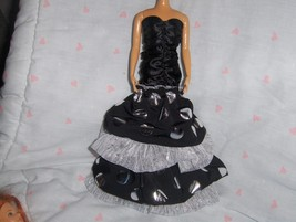 Black Satin Shirred Dress with 3 layers of Ruffles fits Barbie and most ... - $10.95
