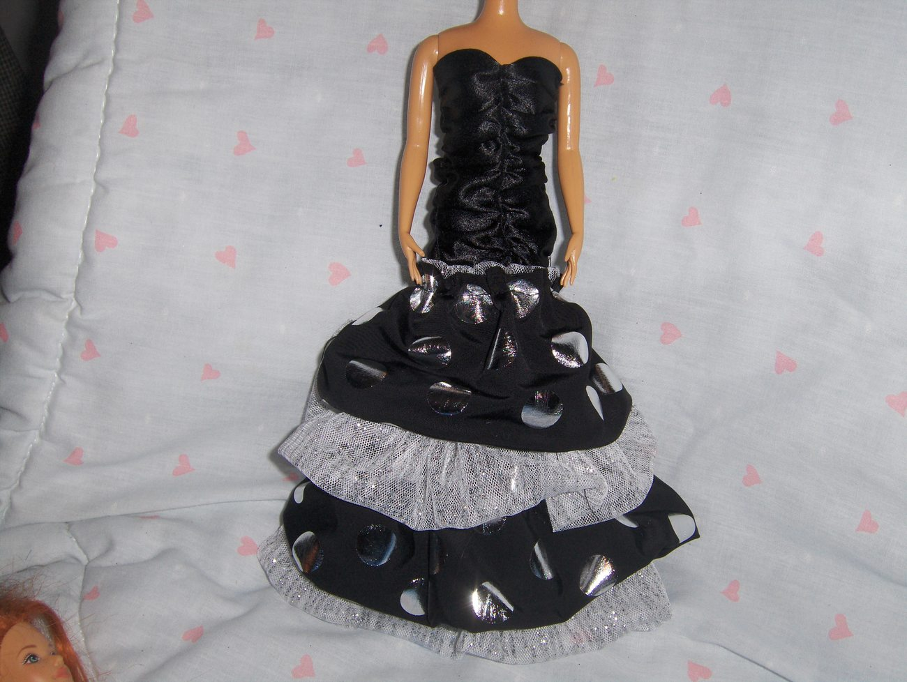 Black Satin Shirred Dress with 3 layers of Ruffles fits Barbie and most Fashion