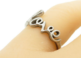 925 Sterling Silver - Vintage Smooth Love Designed Band Ring Sz 7 - R13465 - $22.44