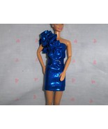 Blue Sparkle Spandex Dress with Ruffle and Rhinestone Accents fits Barbi... - $10.95