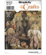 Simplicity 8022 Scarecrow Dolls and Clothing 18 inch - $6.99