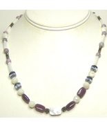 Mother of Pearl,  Purple Lepidolyte & Sterling Silver Necklace - $14.99