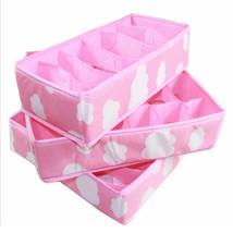 3 In 1 Storage Box Pink Grid Pattern Folding Organizer for Underwear Bra... - $22.61 CAD
