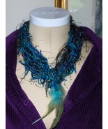 Necklace Yarn and Feather Purple and Blue Homemade 22.5 inches Metallic... - $17.97