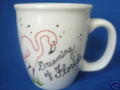 Personalized Ceramic Coffee Mug Flamingo Handpainted