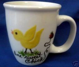 PersonalizedCeramic Coffee Mug  Yellow  Chick  Handpainted - $12.50