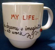 Personalized Ceramic Coffee Mug My Life Handpainted - $12.50