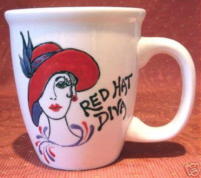 Personalized Ceramic Coffee Mug Red Hat  Handpainted