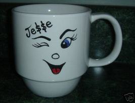 Personalized CeramicCoffee Mug Happy Face Handpainted - $12.50