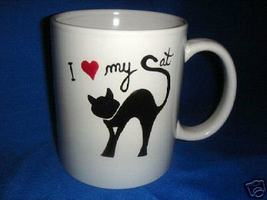 Personalized Ceramic Coffee Mug I Love My Cat  Handpainted - $12.50