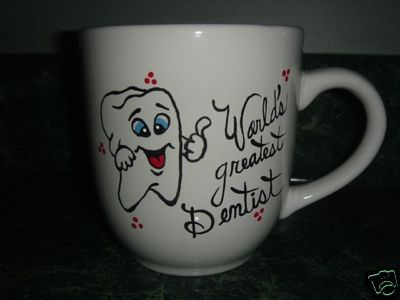 Personalized Ceramic Mug Dentist or Hygenist Handpainted