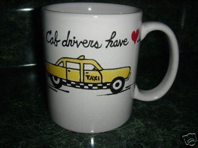 Personalized Ceramic Mug Taxi Cab driver Handpainted