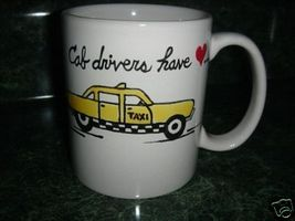 Personalized Ceramic Mug Taxi Cab driver Handpainted - $12.50