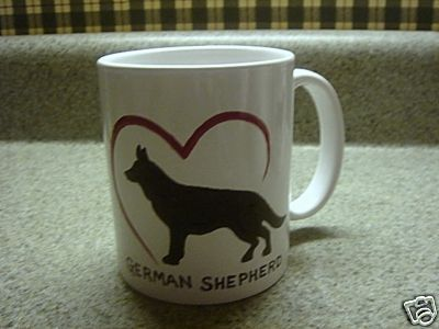 Personalized Ceramic Mug I love German Shepherd Handpainted
