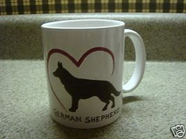 Personalized Ceramic Mug I love German Shepherd Handpainted - $12.50