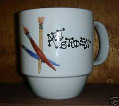 Personalixed Ceramic Coffee Mug Art Student  Handpainted - $12.50