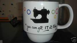Personalized Ceramic Coffee Mug Singer 221 Handpainted - $12.50