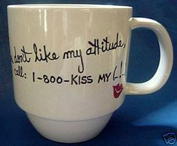 Personalized Ceramic Mug Attitude 1 800 Kiss My  Handpainted - $12.50