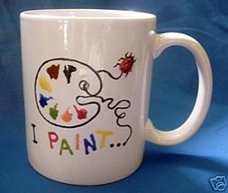 Personalized Ceramic Coffee Mug Artist I Paint Handpainted - $12.50