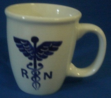 Personalized Ceramic Mug R N Medical symbol Handpainted