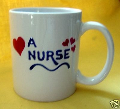 Personalized Ceramic Coffee Mug Love a Nurse Handpainted