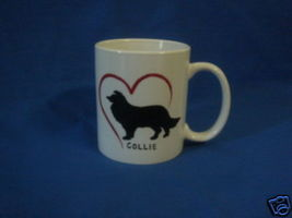 Personalized Ceramic Mug Collie Dog Handpainted - $12.50