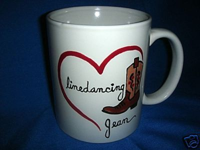 Personalized Ceramic Mug Western Line Dancing Handpainted