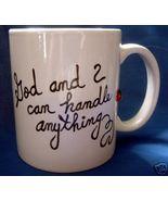 Personalized Ceramic Coffee Mug God and  I  Handpainted - $12.50