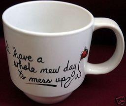 Personalized Mug Ladybug A whole new day Handpainted - $12.50