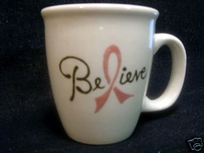 Ceramic Mug Believe Pink Ribbon Breast Cancer Handpainted