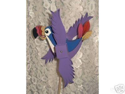 Whirligig Tucan wind Mobile Purple Handcrafted Handpainted