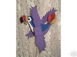 Whirligig Tucan wind Mobile Purple Handcrafted Handpainted - $30.00